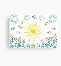 The sun, butterflies, flowers Canvas Print