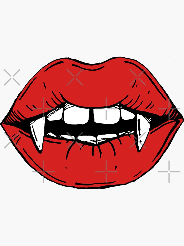 Vampire red lips on black background by kotyplastic