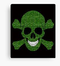 Faux Green Glitter Skull And Crossbones Canvas Print