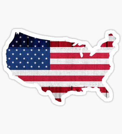 American Flag Map Sticker