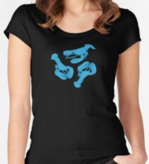 Blue lobsters on dusty pink. Women's Fitted Scoop T-Shirt