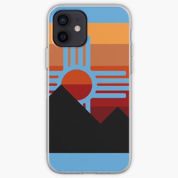 minimalist zia mountain sunset iPhone Soft Case