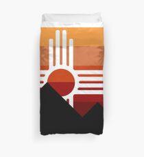minimalist zia mountain sunset Duvet Cover