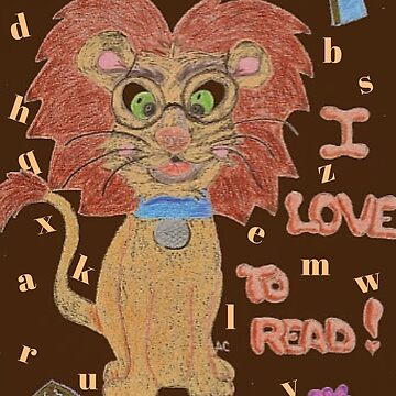 Reading lion on brown chocolate background by iCraftCafe