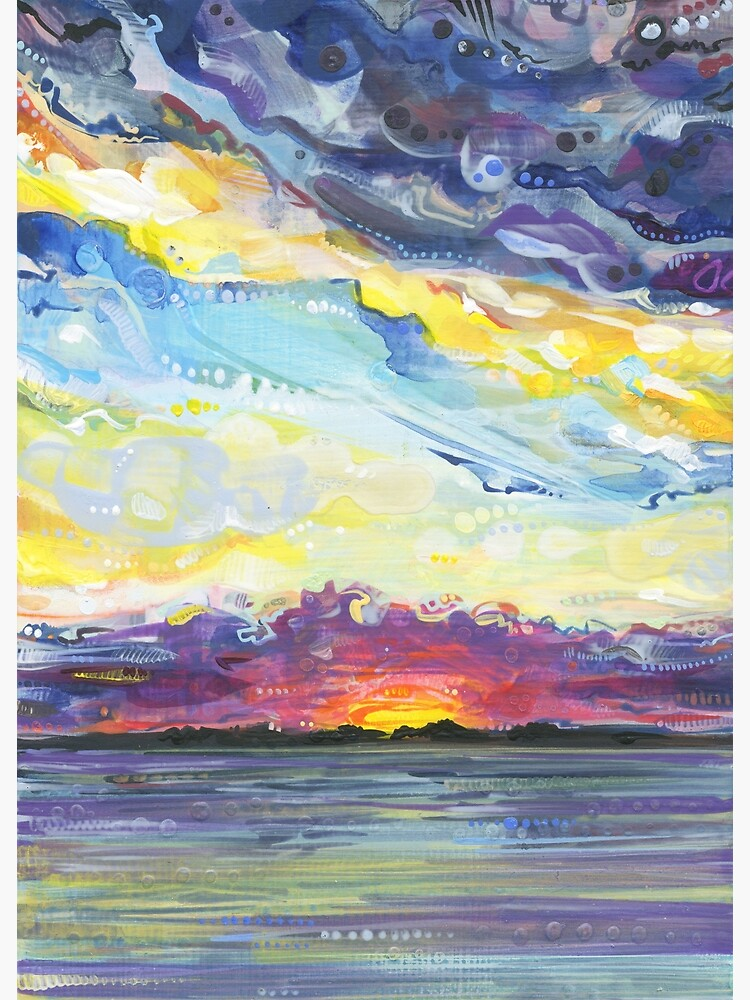 Peaceful sunset on the water painting - 2017 by gwennpaints