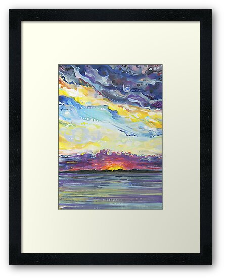 Peaceful sunset on the water painting - 2017 by Gwenn Seemel