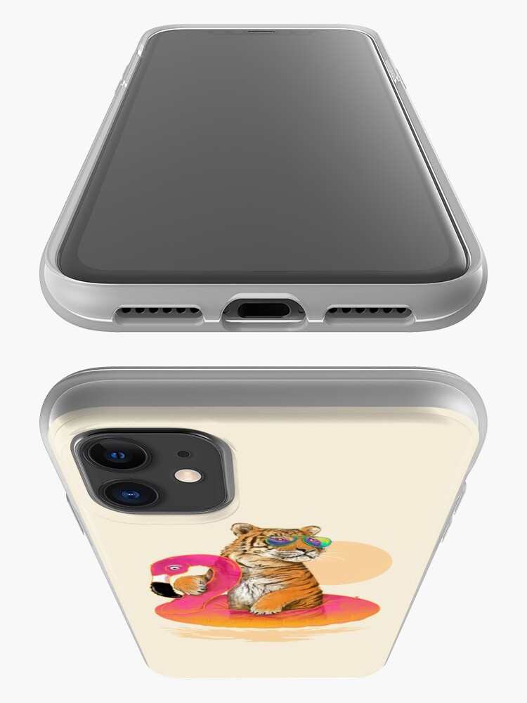 Alternate view of Chillin, Flamingo Tiger iPhone Case & Cover
