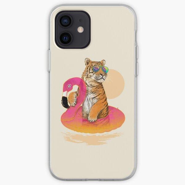Chillin, Flamingo Tiger iPhone Soft Case