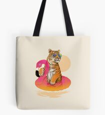 Chillin, Flamingo Tiger Tote Bag