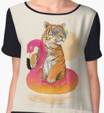 Chillin, Flamingo Tiger Chiffon Top