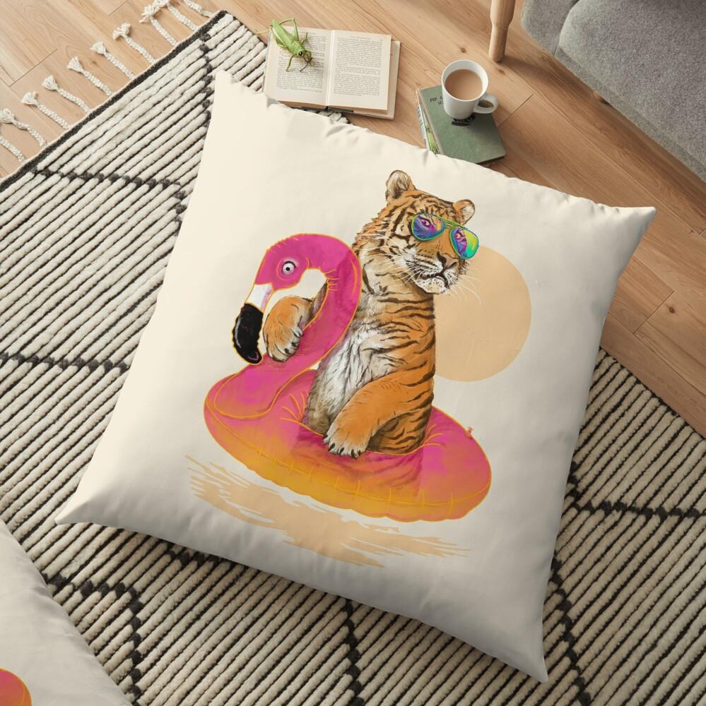 Chillin, Flamingo Tiger Floor Pillow