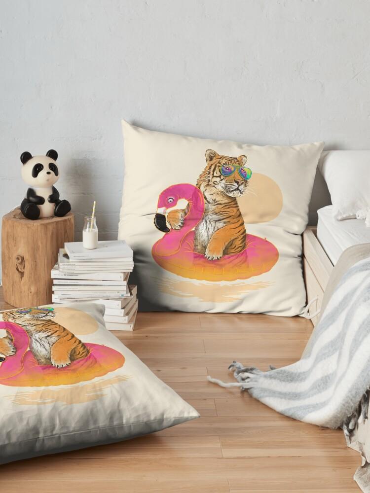 Alternate view of Chillin, Flamingo Tiger Floor Pillow