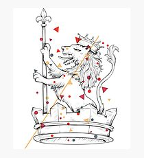 Knight King Rook Lion Theme Chest Piece Animal Lovers Theme Photographic Print