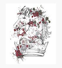 Horse Rook Color Splash Crown Chest Piece Animal Lovers Design Photographic Print