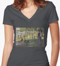 Georges Seurat's A Sunday Afternoon on the Island of La Grande Jatte Women's Fitted V-Neck T-Shirt