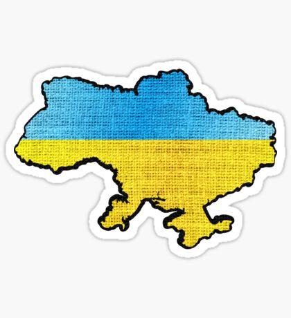 Ukraine Flag Map Sticker