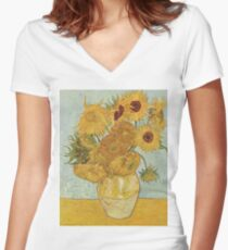 Camiseta entallada de cuello en V Girasoles de Vincent van Gogh