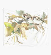 Sparrows and Fall Tree Wall Tapestry