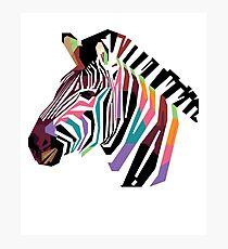 Geometric Colorful Zebra Modern Art Animal Lover Design Photographic Print
