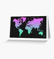 World map color gradient Greeting Card