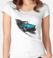 Car Retro Vintage Design Women's Fitted Scoop T-Shirt