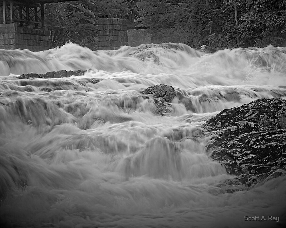 Waterfall in Black and white by Scott A. Ray