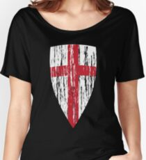 crusader - white red Women's Relaxed Fit T-Shirt