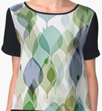 Chic Green Taupe Violet Teal Brown Leaves Pattern Women's Chiffon Top