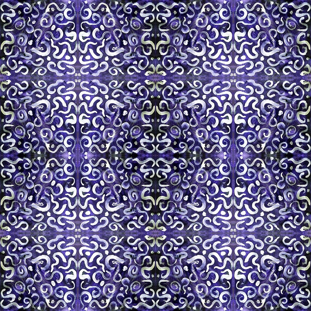 white swirls and dots on purple, pattern by Dawna Morton