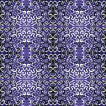 white swirls and dots on purple, pattern by DlmtleArt