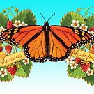 Monarch Butterfly with Strawberries by PatriciaSheaArt
