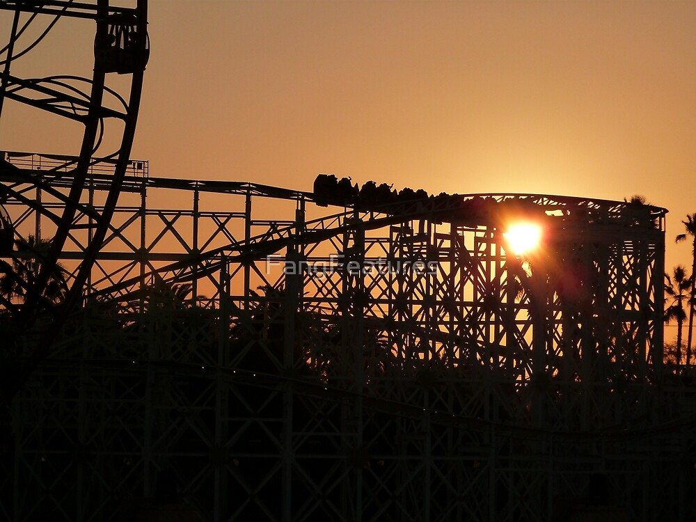 Rollercoaster at dusk by FangFeatures