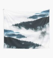 Foggy Forest Landscape Wall Tapestry