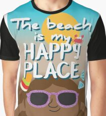 The beach is my happy place - black skin Graphic T-Shirt