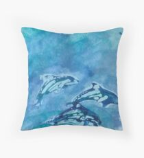 Three Dolphins Throw Pillow