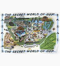 The Secret World of 007 Theme Park Map Poster