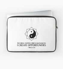I create opportunities - Bruce Lee - Black Text Laptop Sleeve