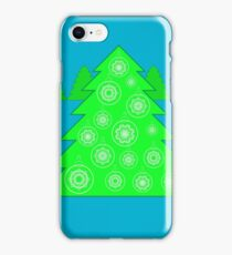 Christmas Green Tree and Balls on Blue Background iPhone Case/Skin
