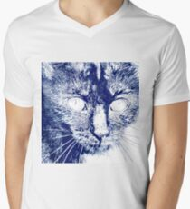 Fluffy's eyes drawing, dark blue and white T-Shirt