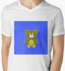 Cute Bear Icon Isolated on Blue Background. Long Shadow T-Shirt
