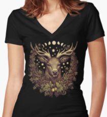 CERNUNNOS STAG Women's Fitted V-Neck T-Shirt