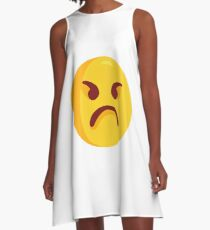 Angry Grumpy Face Emoji A-Line Dress