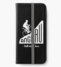 "Angliru climb ""Hell starts here"" cycling Vuelta España iPhone Wallet/Case/Skin"
