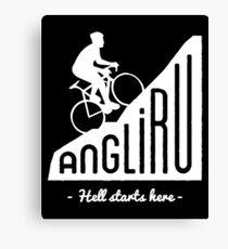 "Angliru climb ""Hell starts here"" cycling Vuelta España Canvas Print"