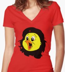 Cheepa Guevara: Revolution with a smile Women's Fitted V-Neck T-Shirt