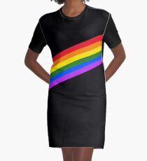 LGBT Rainbow Stripes Graphic T-Shirt Dress