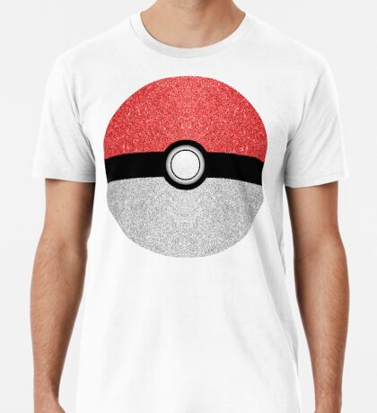 Sparkly red and silver sparkles poke ball on dark gray  Men's Premium T-Shirt