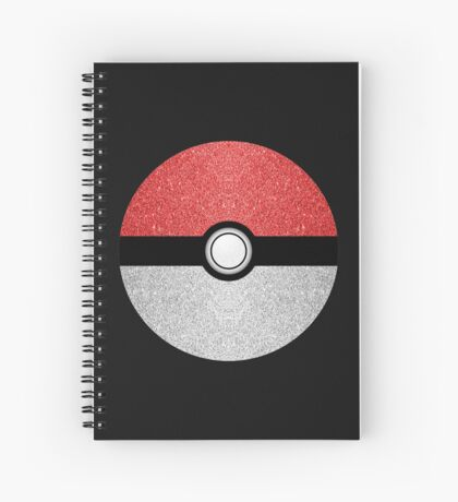 Sparkly red and silver sparkles poke ball on dark gray  Spiral Notebook