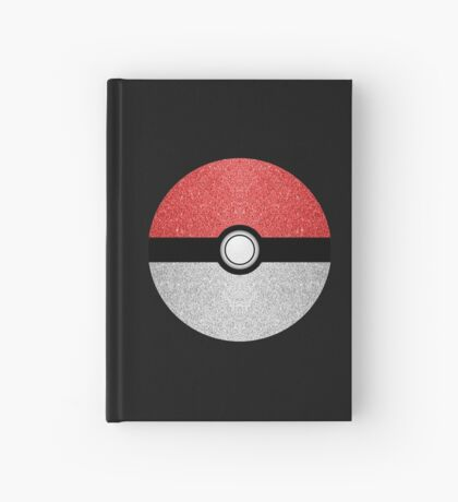 Sparkly red and silver sparkles poke ball on dark gray  Hardcover Journal