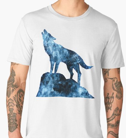 Howling Wolf blue sparkly smoke silhouette Men's Premium T-Shirt